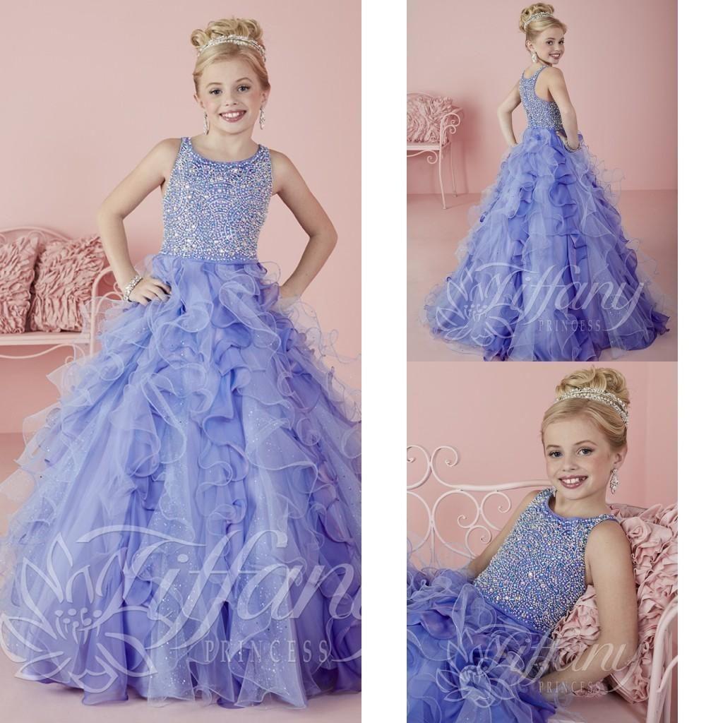 Küçük Kızlar Pageant Elbiseler Giymek 2021 Yeni Mücevher Boyun Kristal Boncuk Lavanta Tül Örgün Parti Elbise Için Genç Çocuklar Çiçekler Kız Önlükler