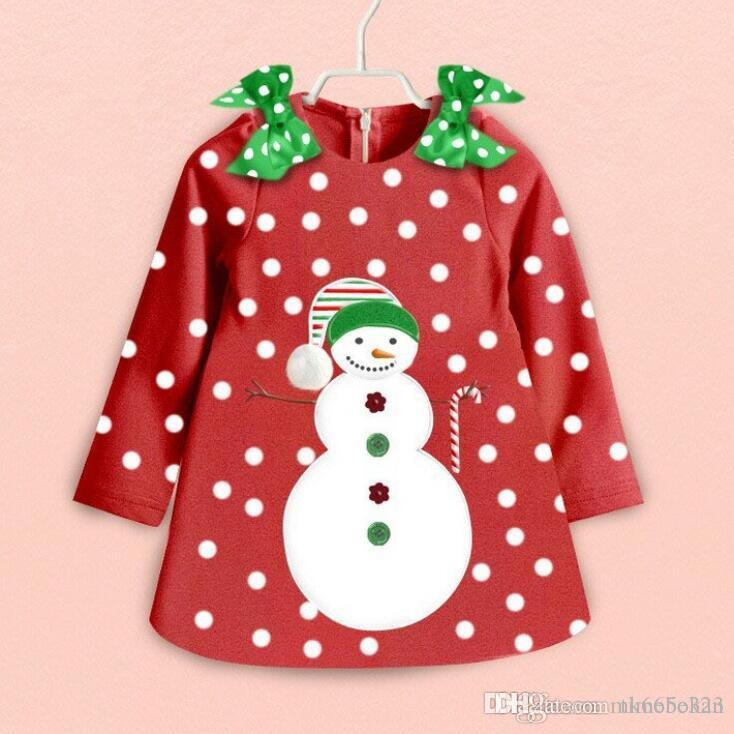 Kids Clothing Girls Frozen Snowman Cotton Dress Baby Girl Bow Princess Party Dresses 2016 Children's Fashion Christmas Clothing