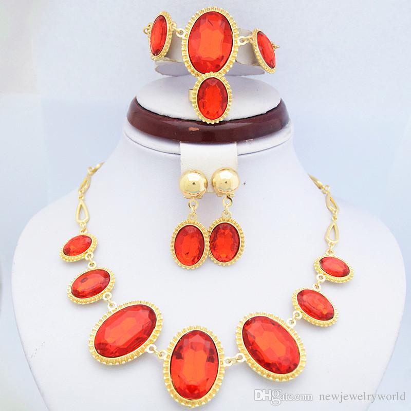 18 K żółty Pozłacane Ruby Kamienne Zestawy Biżuterii Elegancki Red Rhinestone Naszyjnik Ślubny, Bransoletka, Kolczyki i Zestawy Biżuterii Ring 720
