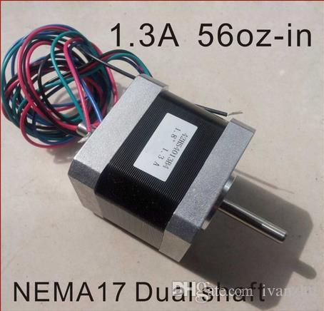 Motor paso a paso de doble eje NEMA17 1.3A 62.5 oz-in Longitud del cuerpo 40 mm CE Motor Rohs
