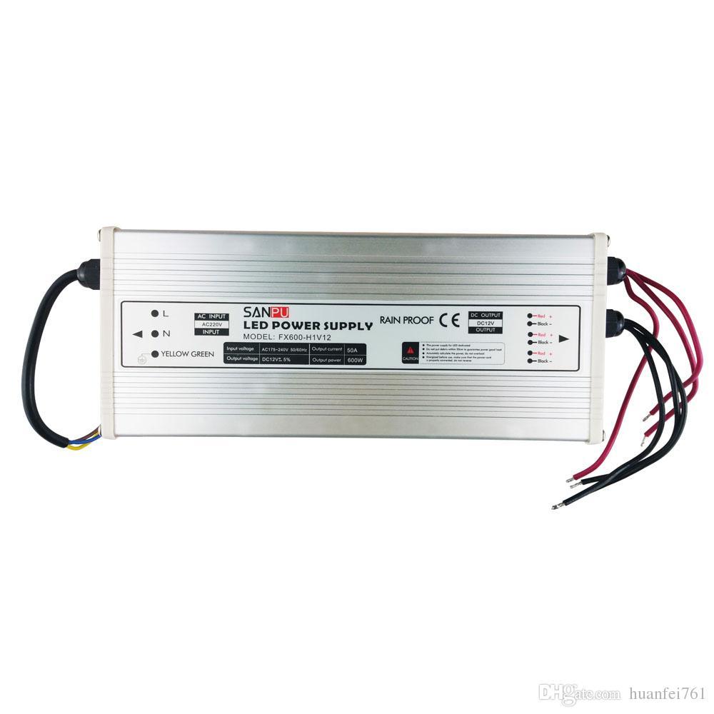 Sanpu SMPS 24v 12v LED tensione di alimentazione 600w 25a 50a commutazione driver 220v AC a DC Lighting Transformer Pioggia Prova Usa Ourdoor