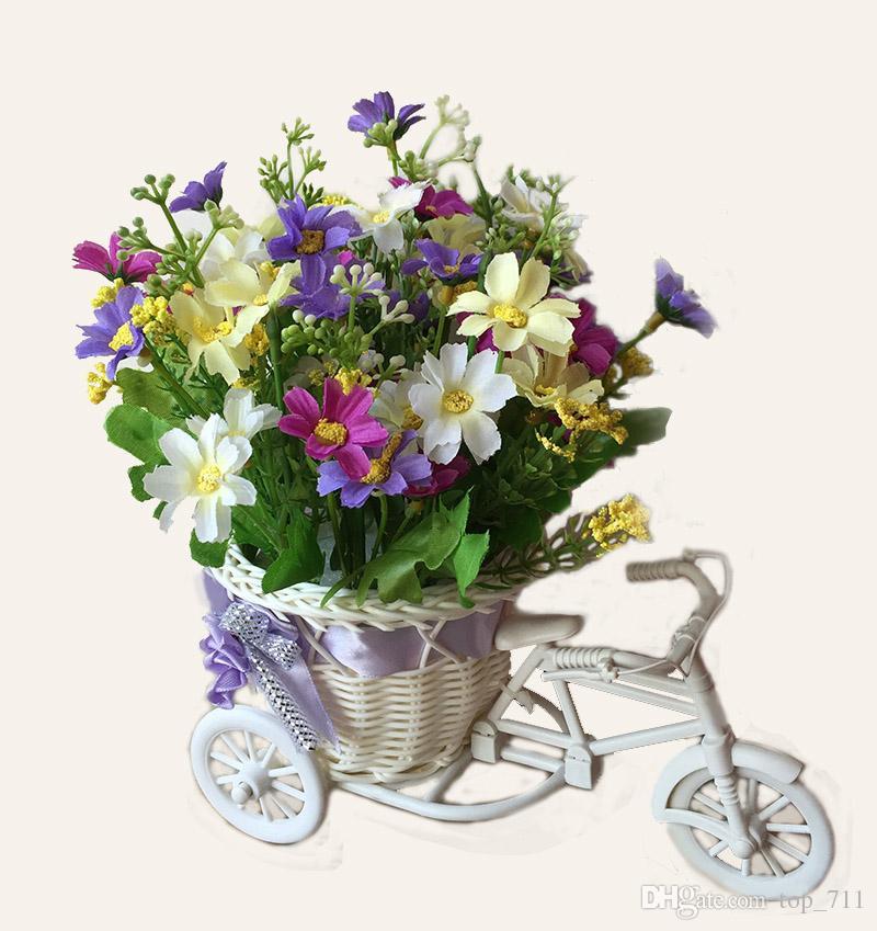 Compre Bicicleta De Plástico Jarrón De Ratán Con Tela Flores Artificiales Margarita Falso Arreglos Florales Decoración Para El Hogar Decoración Del