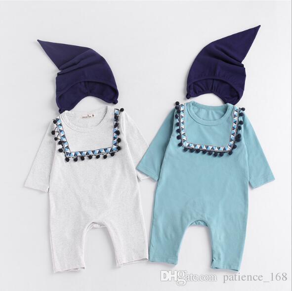 INS 2 couleurs nouveautés automne bébé enfants escalade barboteuse style national barboteuse à manches longues + casquette barboteuse en coton de haute qualité définit le bateau libre