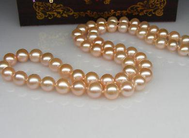 Klassische 9-10mm natürliche Südsee Gold Rosa Perlenkette 18 Zoll 14 Karat Gold Verschluss