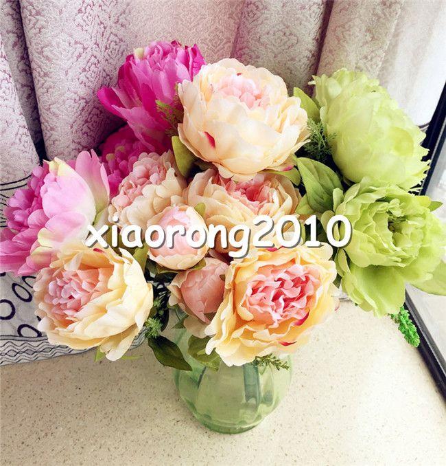 """45cm / 17.72 """"Legnth peony Bridal Bouquet Wedding Party Centrotavola Decorazione della casa 7pcs Seta fiore artificiale teste / Bush Disposizione"""