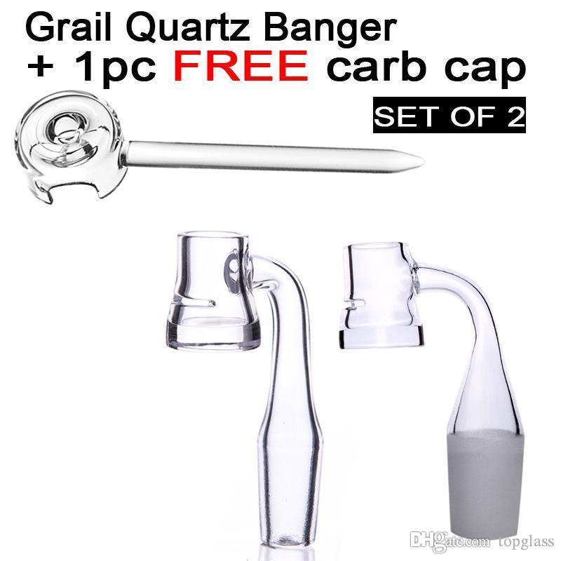 4MM 두꺼운 바닥 Grail quartz banger nails with 10mm 14mm 19mm + 1pc 무료 석영 carb 캡, graile quartz banger 세트 2
