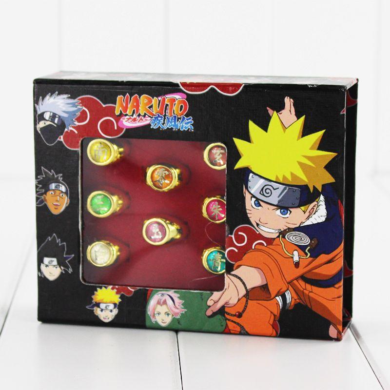 10pcs//Set Anime Cartoon Naruto Rings Akatsuki Member/'s Cosplay Rings With Box
