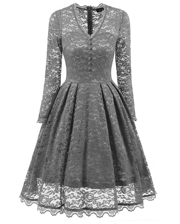 Großhandel Spitze Hohl Sexy Kleid Frauen Langarm Audrey Hepburn 11er Jahre  Vintage Kleid Elegante Tunika Swing Party Kleider Von Andrewknight11,