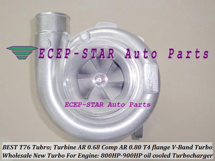 T76 Modifiziertes Universal TURBO Ladegerät; Turbine: A / R 0,68 Comp: A / R 0,80 800 HP-900 HP T4 Flansch V-Band ölgekühlte Turbolader