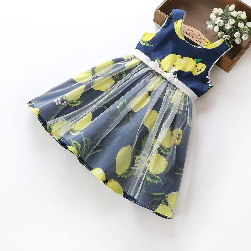 New Girl Summer Cute Girl Dress Garza in cotone senza maniche abiti floreali con una cintura per bambini Princess Party Dress