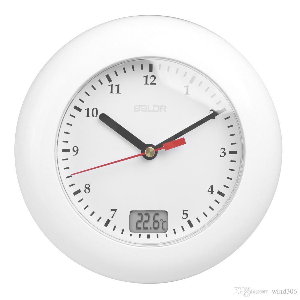 Großhandel Baldr Thermometer Badezimmer Wanduhr Temperatur Anzeigen Wand  Hängen Durch Saugnäpfe Analoge Wasserdichte Duschuhr Uhr Von Wind18, 18,18  €