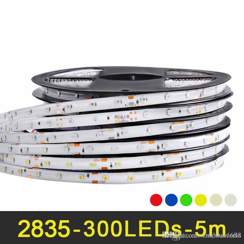 RGB LED Streifen Licht 5m Hohe Helligkeit SMD 2835 LED Streifen DC 12V IP65 Wasserdichtes flexibles Band Warmweiß Rot Grün Blau Gelb