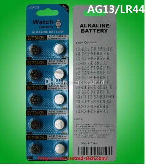 400 carte / lotto 1.5 v AG13 LR44 A76 batteria alcalina batteria orologio 100% fresco 0% Hg Pb Ge contenuto