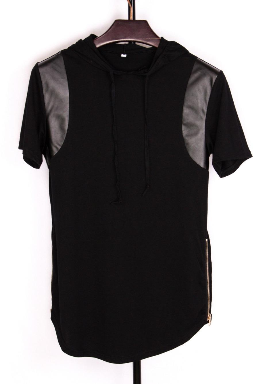 2016 الرجال الهيب هوب تي شيرت الأزياء tyga الذهب الجانب سستة 100٪ ٪ غنيمة t-shirt بو الجلود المرقعة مع هود قمم الموسعة