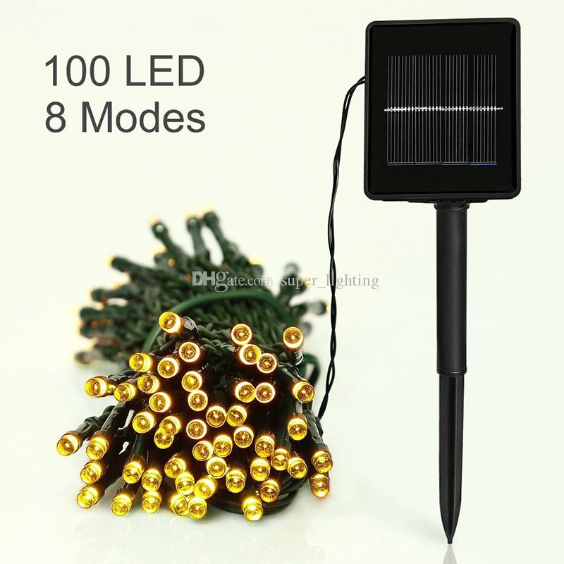 17m Słoneczne światło łańcuchowe 8 Tryby 100 LED Multi-Colors Wodoodporne LED Światła Bożego Narodzenia do Krytych Światła na świeżym powietrzu