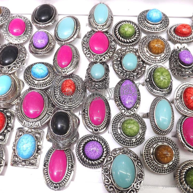 Adjustable Silver Tone Rings Mixed Shape Retro Imitation Gemstone Rings 50pcs/Lot Wholesale