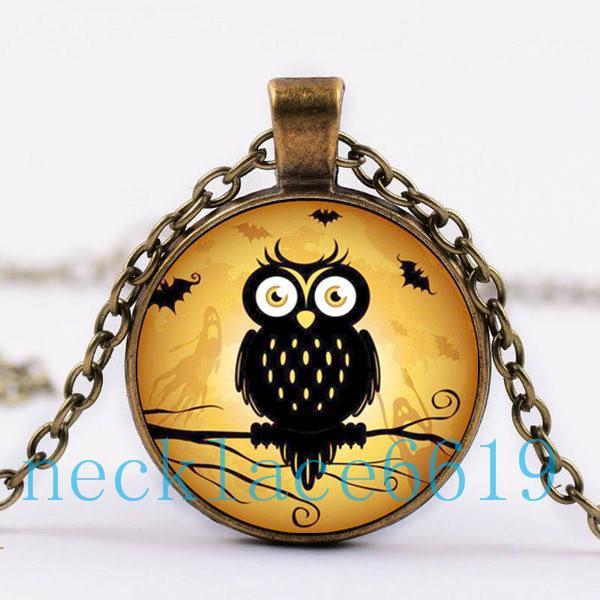 10 pcs hallowmas coruja colar de pingente, presente de natal, presente de aniversário, colar de vidro cabochão, prata / preto moda jóias dj-92