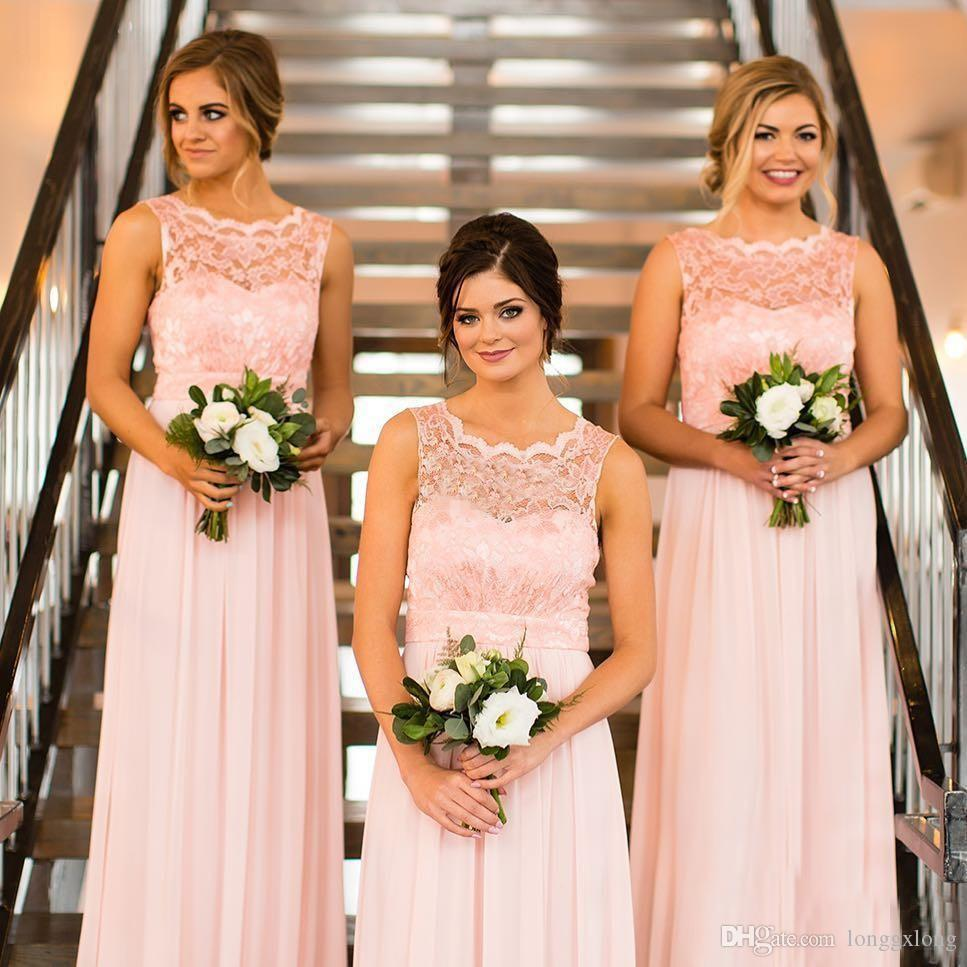 New country long bridesmaid dresses lace boat neck sleeveless new country long bridesmaid dresses lace boat neck sleeveless blush pink chiffon 2017 cheap maid of ombrellifo Images