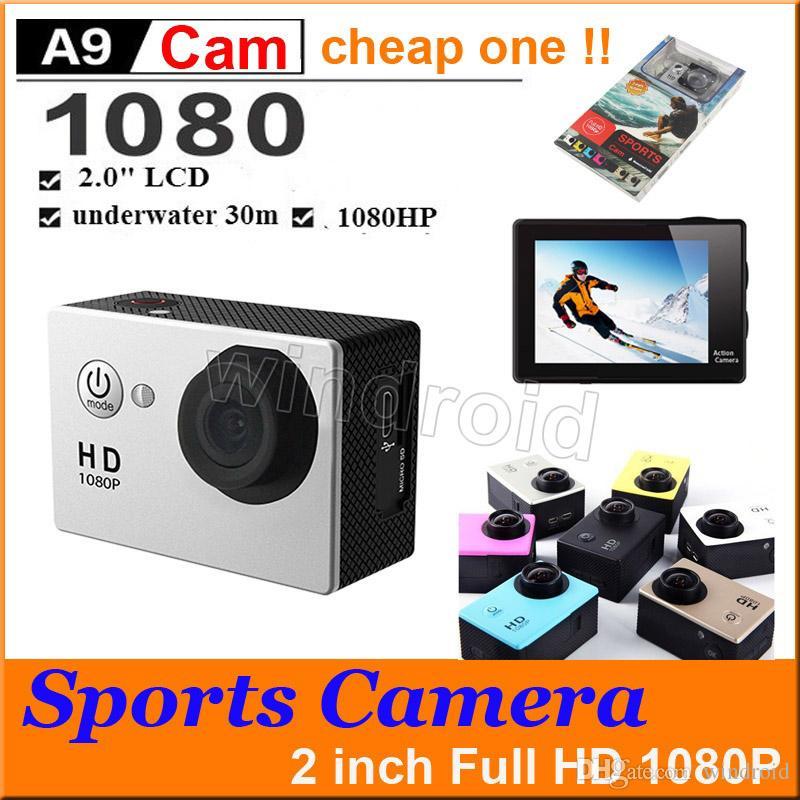 """الرياضة HD عمل الكاميرا الغوص 30M 2 """"140 درجة متر كاميرات ماء 1080P كامل HD SJcam خوذة تحت الماء الرياضة DV سيارة DVR رخيصة A9"""