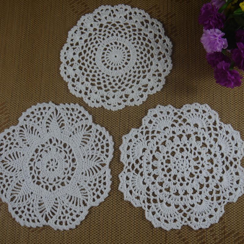 Free shipping 30PCS/LOT wholesale 100% cotton lace hand made Crochet Doilies cup mat 13 color, Round Doily 18-20cm an3h61