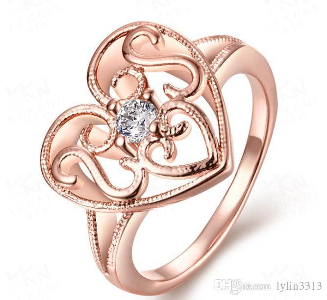 Envío gratis venta al por mayor rosa chapado en oro del amante de la joyería en forma de corazón anillo para la mujer regalo de aniversario compromiso de la boda ajustable anillos finos