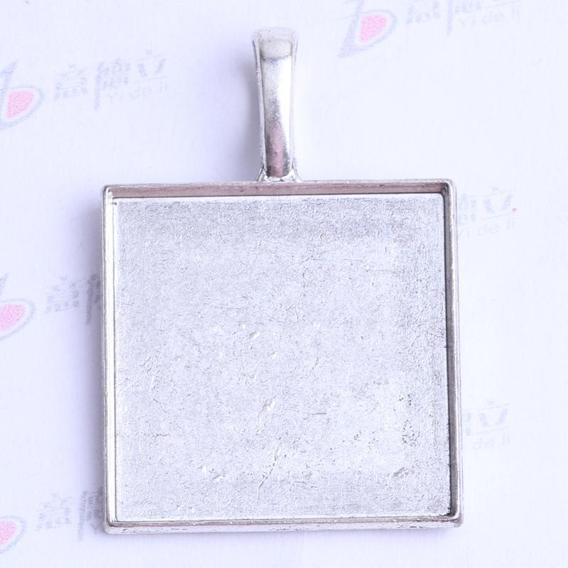 37.9 * 21.2 * 7.5mm Cuadrados de corcho base encantos antiguos de plata / bronce aleación de zinc Colgante DIY joyería colgante collar apto 80pcs / lot 2420