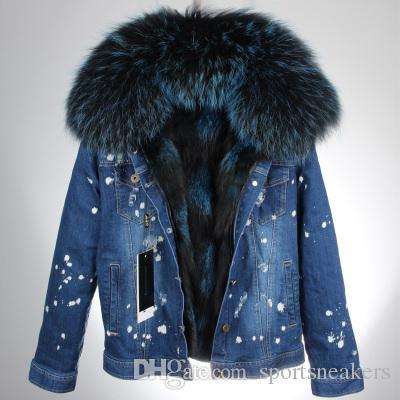 sportsneakers femmes Darkblue trou dans la veste en jean avec col de fourrure véritable raton laveur amovible réel renard doublure en fourrure