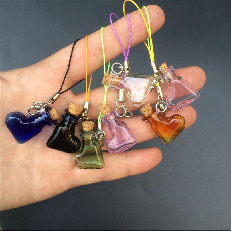 Mini Glass Bottles Pendant With Key Chains Lobster Clasp Bottles Handmade Pendant Gift Bottles Mix 7Colors1