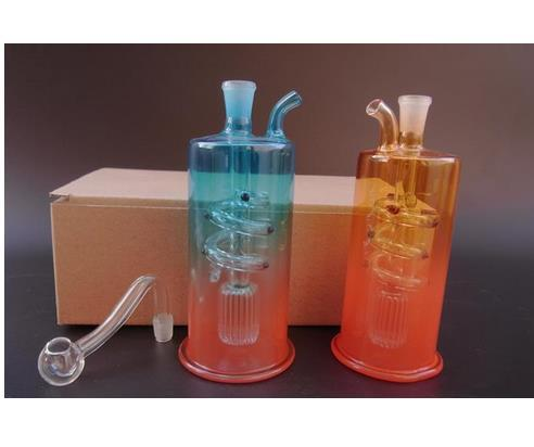Tubos de vidrio de envío libre Vidrio burbujeador Vidrio vidrio plataforma petrolera Bongs de vidrio azul y naranja JH041-10mm