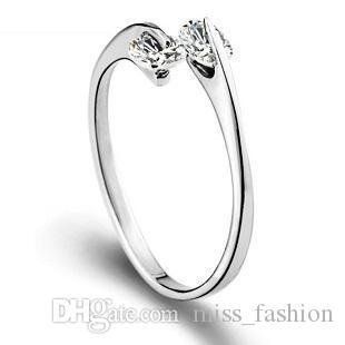 Frete grátis nova chegada 925 anel de prata esterlina jóias simples duplo anel de diamante único design aberto