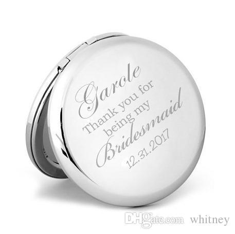 Nouveau personnalisé miroir compact de mariage de demoiselle d'honneur cadeau Gravure personnalisée de poche Miroir grossissant maquillage # 18305-1