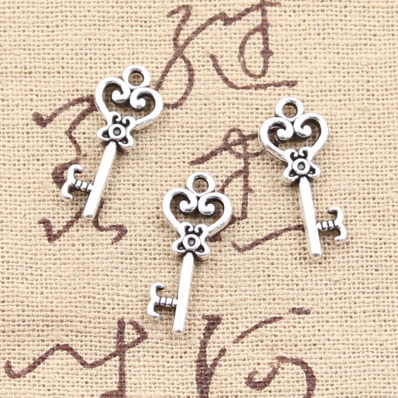 150pcs charmes clé squelette 21mm antiquité faisant ajustement pendentif, argent tibétain vintage, collier de bracelet bricolage