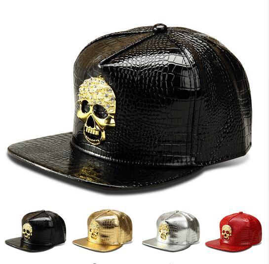 Nuevos sombreros de la estrella Cool Snapback Gorras de oro Hip Hop Sombreros de béisbol Hombres Deportes Ajustable American PU DJ Street Dance Sombrero de Golden Skull Snapback