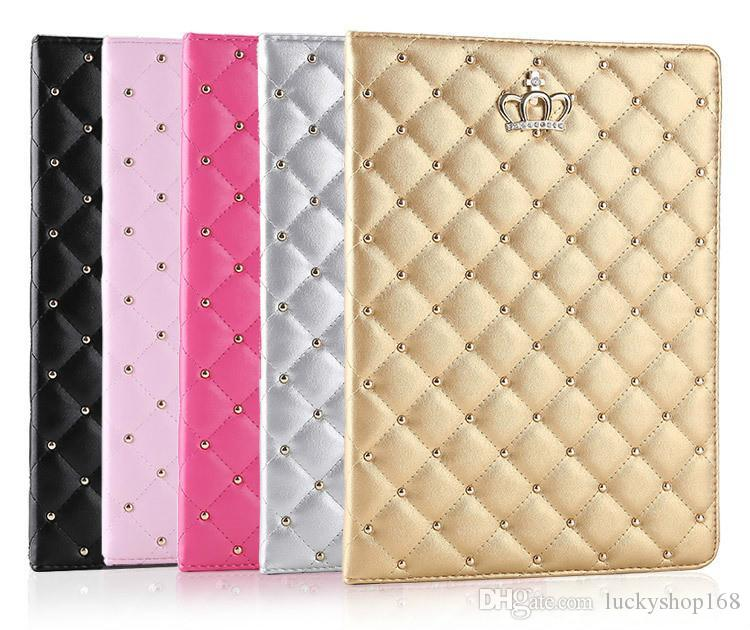 Factory Price!!! For iPad mini cases ipad2 3 4 Phone pouch Rhinestone Crown rivet Smart Cover with stand shockproof Dormancy pc+pu leather