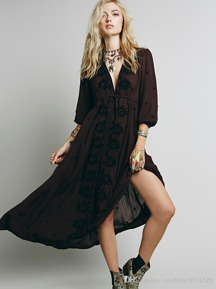 2017 Spring Summer V Neck Women Bohemian Ethnic Flower Embroidered Tunic Long Dress Hippie Boho People Brand Casual Dresses 10 colors