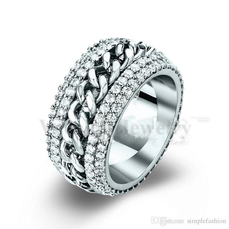 Vecalon Rotação anel de cadeia Mulheres Homens Jóias 240 pcs Simulado diamante Cz 925 Sterling Silver amante Anel de casamento Banda de Noivado