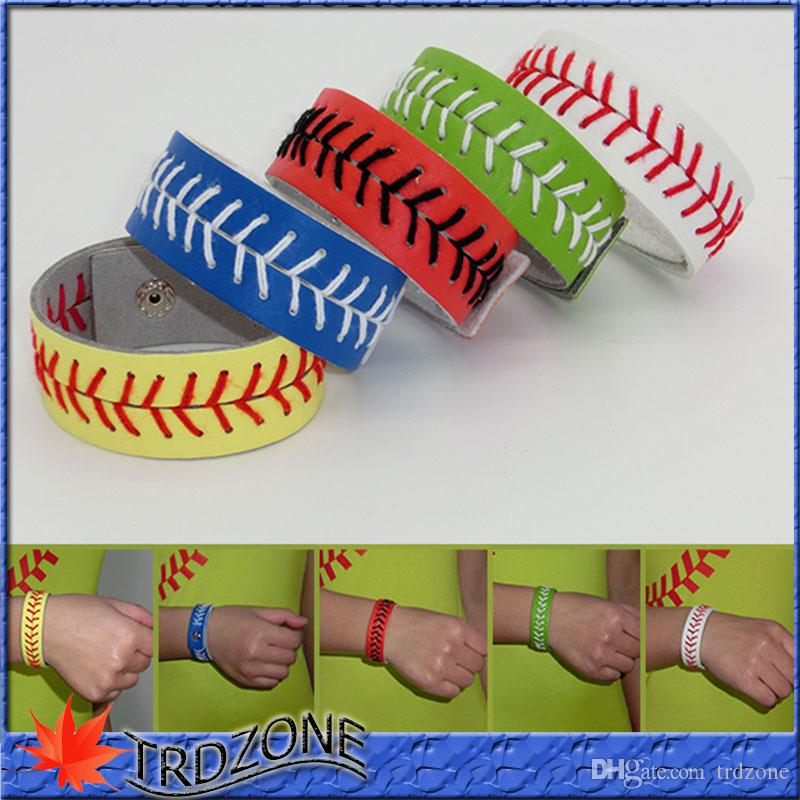 Softball Baseball Leather Stitches Seamed Pulseiras Esportes Escola
