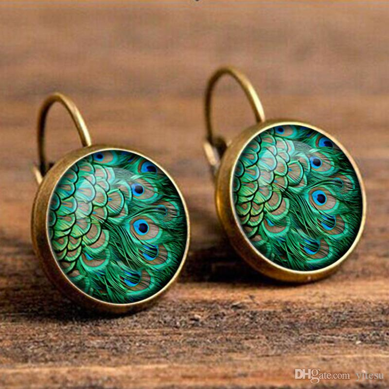 fashion crystal earrings accessories glass cabochon earrings peacock feather earring art handmade pendant charm earrings jewelry
