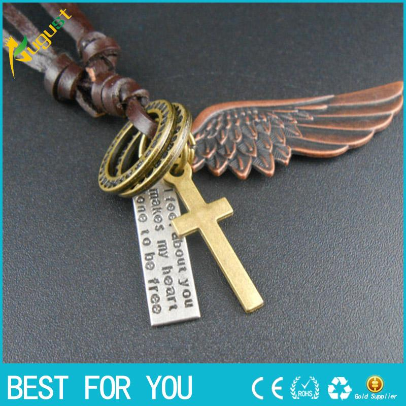 Antique Vintage Angel Wing Mens and Women Leather Necklace Charms Pendants A9021 new hot