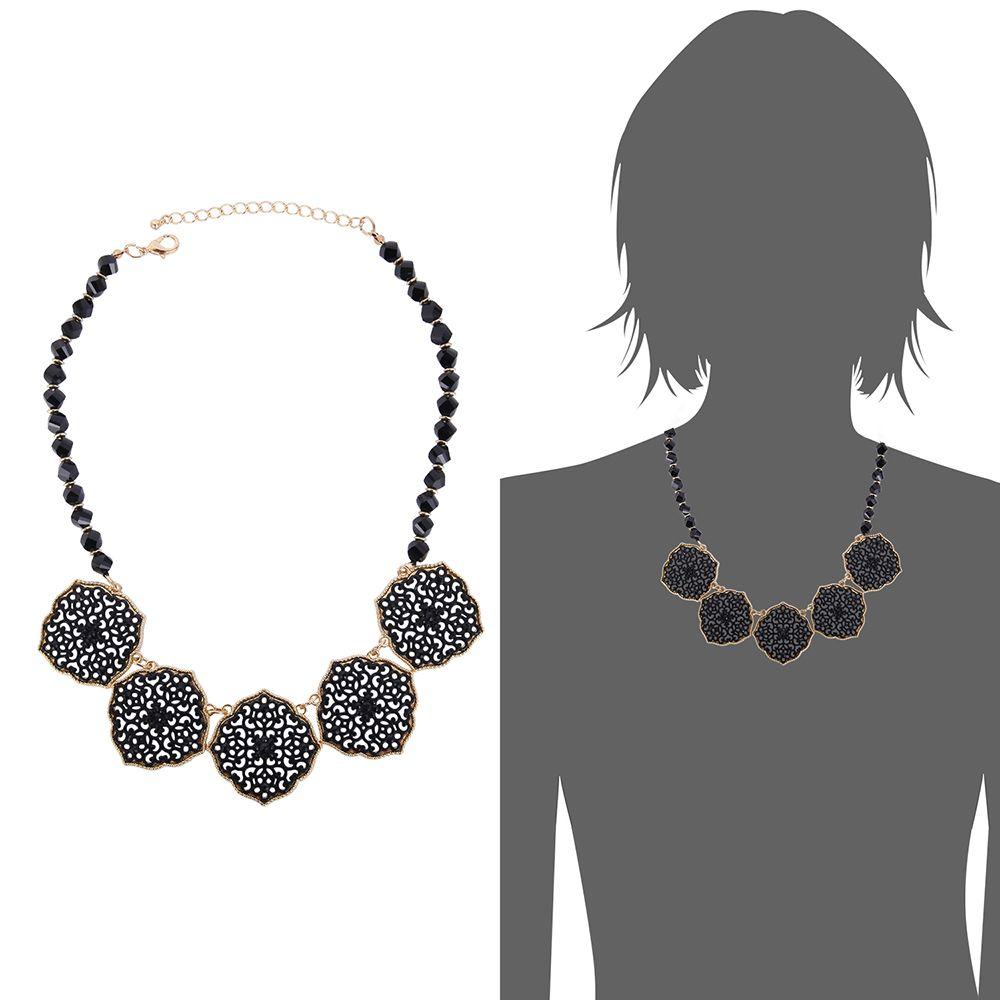Böhmen Vintage Black Bead Flower Chokerhalsketten Fashion Statement Halsketten Weiblichen Accessoires Frauen Schmuck Geschenk Heiße Verkäufe