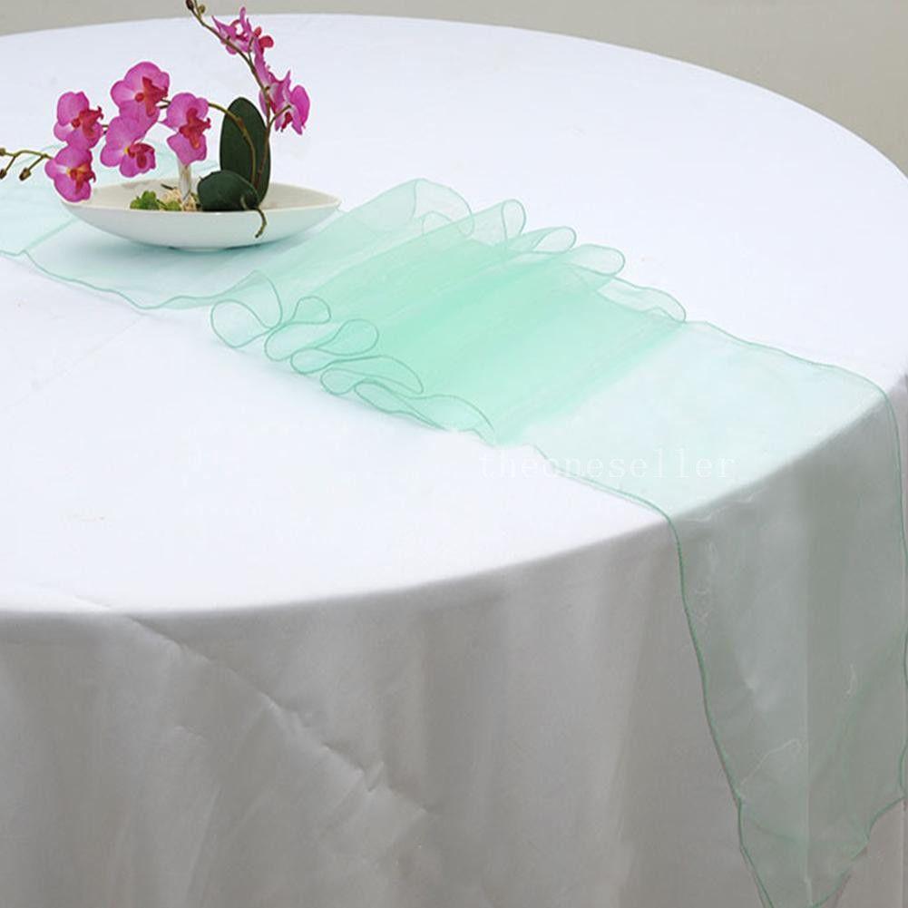 """Runner da tavolo in organza grigio argento 12 """"x108"""" Decorazione per festa di nozze Colori Decor OTA"""