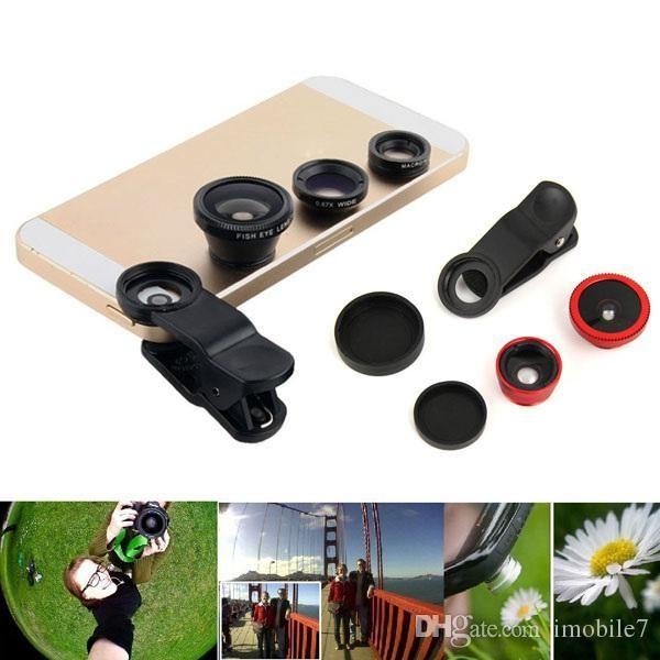 Universal 3in1 Clip On Camera Lens Kit Fisheye + Wide Angle + Macro para celular