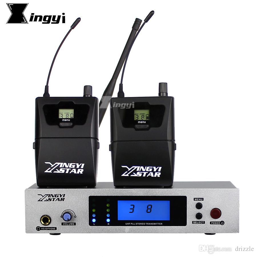In Ear Monitor UHF Wireless System Two Bodypack Receiver With Cordless Transmitter Monitoring Professional Stereo Stage Monitors in Earphone