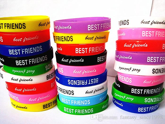 Wholesale Bulk Lots 100pcs mixed different colors styles best friends friendship silicone rubber fashion cuff wristband bracelets brand new