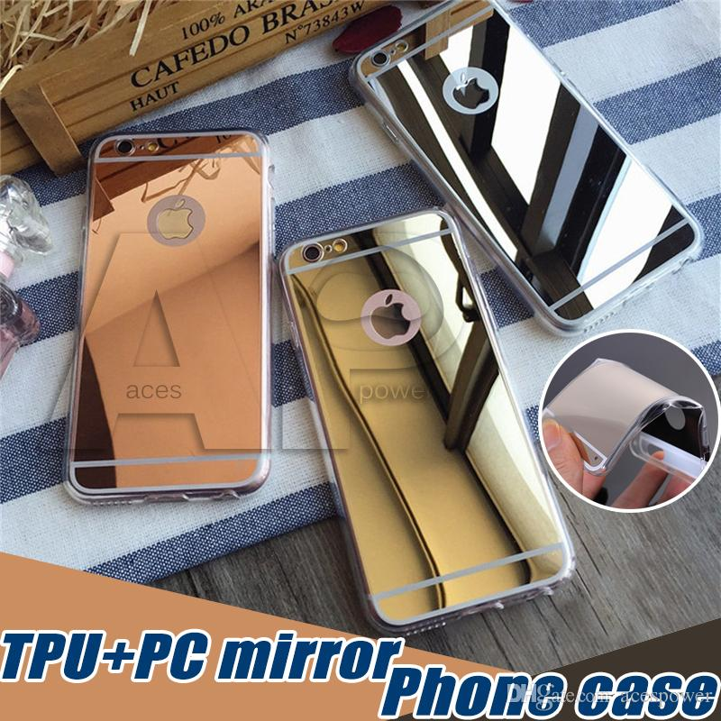 For Iphone 11 Pro XR XS Max Samsung Note 10 Plus S10 S9 Mirror Case Back Shock-Absorption TPU Bumper Protective Case