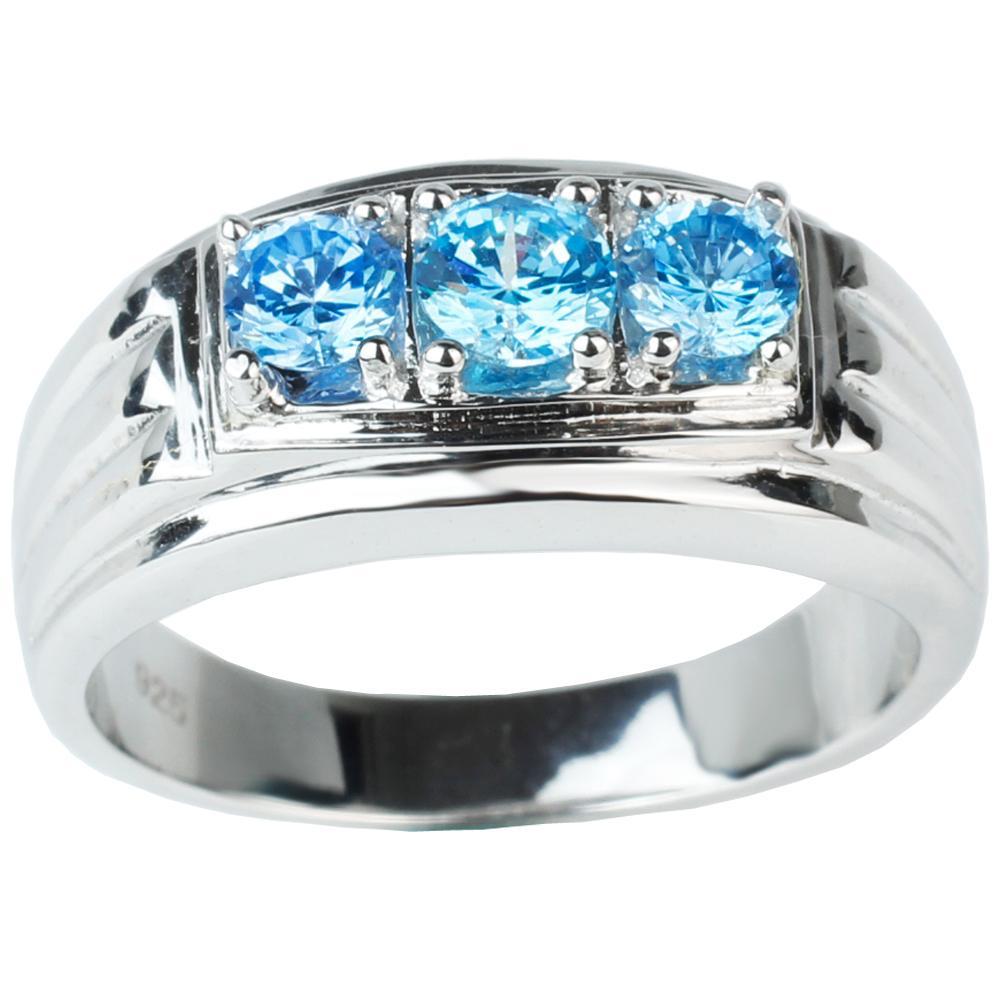 Anello da uomo in argento sterling 925 con tre pietre blu simulato Topazio Taglia da 6 a 13 Gioielli di moda Regalo di Natale per fidanzato