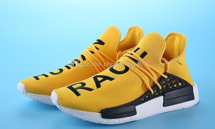 new concept dcc9e be665 2018 2016 New Mesh NMD Human Race Pharrell Runners Boost Women Running  Shoes Yellow Mesh NMD Boost Men Sport Sneaker Shoes Size 7 11 From ...