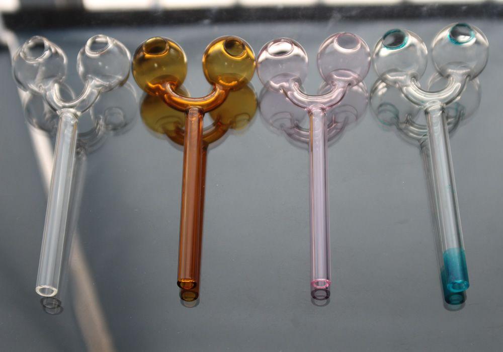 Gnade Glass Ölbrenner Rohrglasrohr-Qualitäts-Doppelbrennerrauchpfeifen Hand durchgebranntes Dab Rig Recycler Top-Öl-Brenner