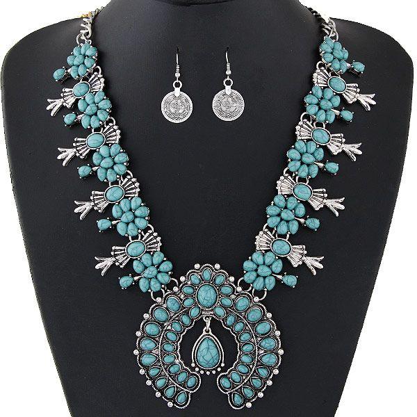 Ensembles de bijoux de Bohême pour les femmes Vintage perles africaines ensemble de bijoux pièce turquoise déclaration collier boucles d'oreilles ensemble bijoux de mode