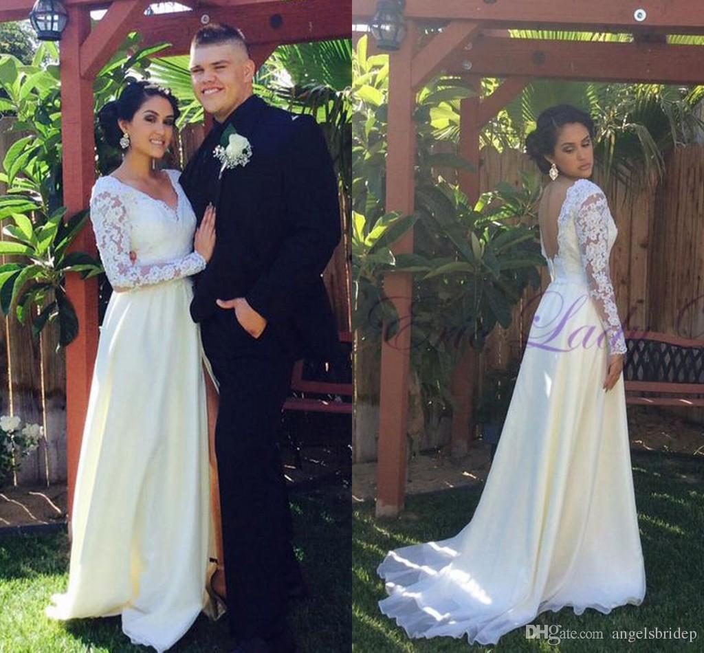 Großhandel Sexy Boho Split Brautkleider Simple White / Elfenbein ...